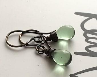 Green Drop Copper Earrings. Petite Antique Green Teardrop Earrings. Oxidized Copper Earrings. Wire Wrapped Earrings. UK Seller