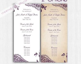 Lace Wedding Program, Purple Lace Programs, Printable Digital file, Printable programs, wedding programs, violet weding, elegant programs