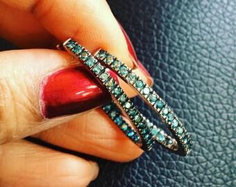 Gorgeous Teal Blue diamond oval hoops earrings oxidized .75 carat diamond earrings