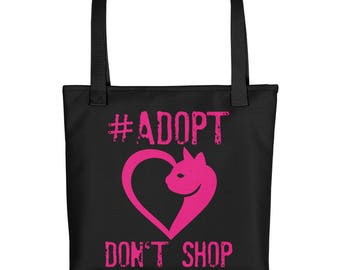 Cat Lover Tote bag - Gift for Cat Lover - Adopt Don't Shop - Weather Resistant Tote Bag