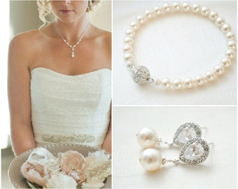 Bridal Jewellery SET, Crystal Pearl Wedding Jewellery SET, Bridal Bracelet Set, Bridal Earrings Set