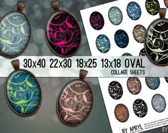 Digital Collage Sheet Oval Elegant Swirls 30x40 22x30 18x25 13x18 Collage Sheet Images for Glass and Resin Pendants Cameos Paper Craft