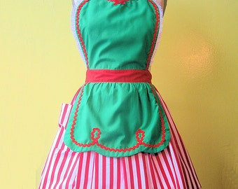 CHRISTMAS apron, womens apron, full apron, green with red stripes, Santas Helper, Elf apron, gift, hostess gift, ready to ship now