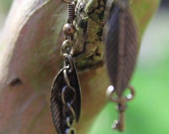 Bronze key and leaf earrings