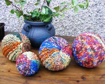 Hand Knitted Balls Cotton, Kidmohair & Silk and Pure Wool Yarns Waldorf Inspired  HandCrafts