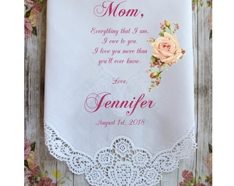 Mother of the Bride Handkerchief-Wedding Hankerchief-PRINTED-CUSTOMIZED-Wedding Gift-Mother of the Groom hankies-ChoCAC[A68]