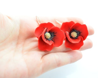 Red poppies earrings, sterling silver wire hooks
