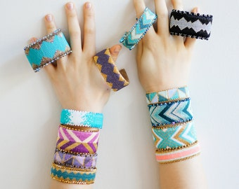 Custom, made to order beaded cuff bracelet