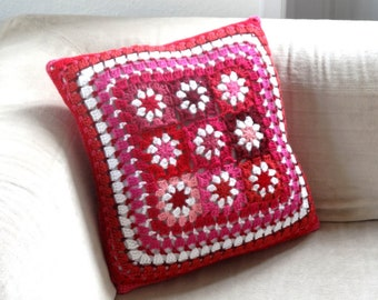 Hook and fuchsia fabric pillow cover