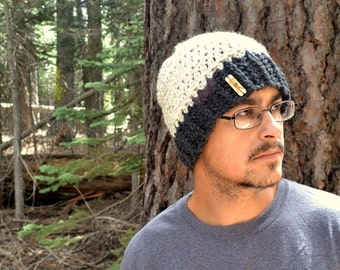 Crochet Beanie Hat Wool Blend Winter Fitted Skullcap Mens Womens Color Block Hat Large More Color Options