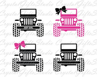 Jeep svg, jeep girl svg, jeep with bow svg, jeep bow svg, jeep monogram svg, svg files for cricut, dxf files, silhouette, svg, dxf