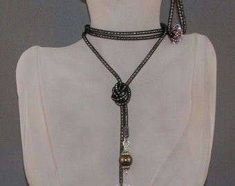 SALE! Black Necklace & Earring with Swarovski Crystals and Pearls