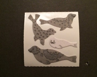 Sandylion vintage rare fuzzy seal stickers