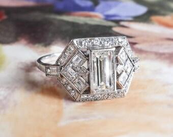 Elegant Emerald Baguette Cut Diamond Engagement Ring 1.53ct t.w. Platinum Anniversary Ring