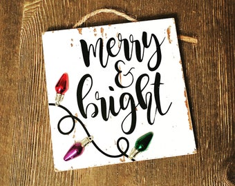 Merry & Bright christmas lights ornament