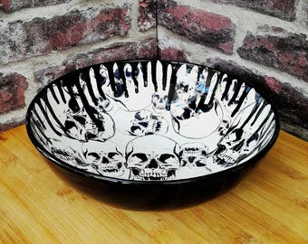 Gothic Fruit Bowl, Hand painted ceramic, skull drip design, Salad or Pasta, Black and White, Unique Kitchen item, Weird and Wonderful, Large