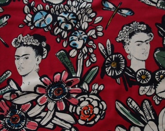 Alexandre Henry - Frida and Cactus flowers - red background