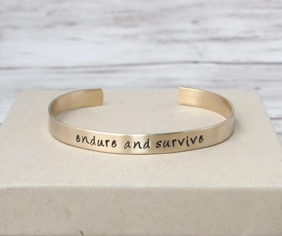 Endure and Survive Bracelet, Gold Tone Cuff, Gamer Jewelry, The Last of Us, Motivational Quotes, Brass Cuff