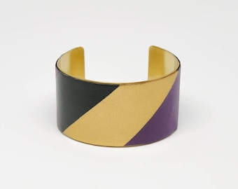 Handmade leather cuff bracelet GRAPHIC, stylish and colourfull
