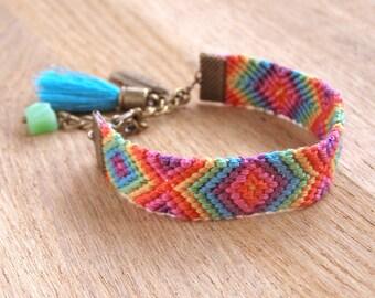 Ethnic turquoise tassel bracelet, Jade gemstone aztec wayuu bracelet, Southwestern colorful rainbow ikat, Native american indian feather