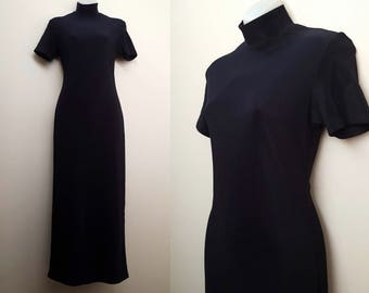 Vintage Mock Neck Dress / 90s Black Tight Short Sleeved Mock Neck Dress