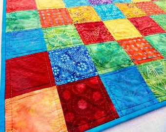 Patchwork Quilt, Baby Quilt, Bright Color Palette with BLUE, Babies, Toddlers, Throw Quilt, Modern Patchwork, Tummy Time Quilt