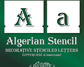 Algerian Stencil Font – lowercase & UPPERCASE Vintage Lettering alphabet/pochoirs de meubles