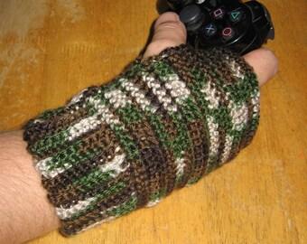 Woodland Fingerless Gloves for Men - Crochet Pattern - PDF file pattern - One Skein Project!