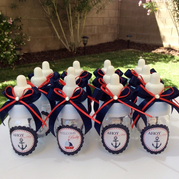 Nautical Themed Bedding For Babies: 12 Small 3.5 Nautical Baby Shower Favors Anchor Bottle