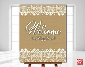 Burlap and Lace Wedding, Printable Welcome Sign, Lace and Burlap Bridal Shower Sign, Boho Decor, Rustic, 8x10, Instant Download, JPG
