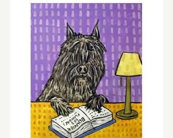25% off Bouvier Des Flandres Reading a Book Dog Art Print 11x14 JSCHMETZ american MODERN abstract pop art folk art