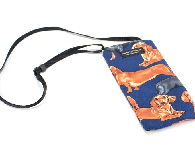 Dachshund Dog fabric Eyeglass Reader Case -with adjustable neck strap lanyard