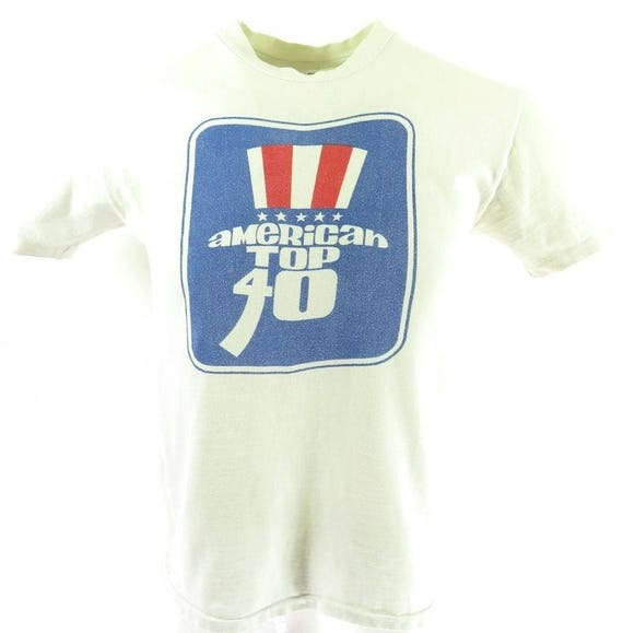 T Shirt Hanes 80s Made Top 40 0 M H61O 7 Mens American Vintage USA Radio qCI1wHnRC