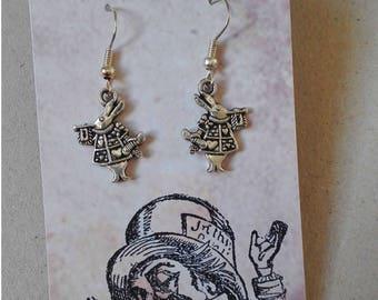White Rabbit Earrings Alice in Wonderland Jewellery Silver Tone Steampunk Stocking Filler Vintage