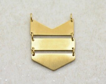 1 - Hanging Chevron Charm Link Brushed 24k Gold Plated Stainless Steel Three Part Geometric Layered Charm Minimal Jewelry Pendant (AS025)