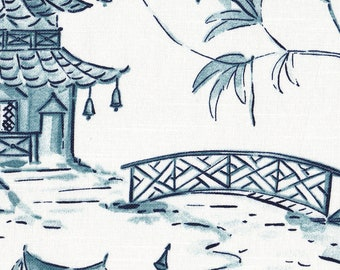 Standard Sham, Tailored, Pagodas Seaside Blue Oriental Toile