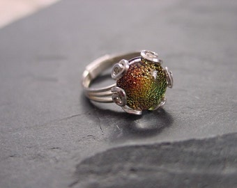 Handmade Jewelry. Sterling Wire and Dichroic Glass Ring. Made Just For You as seen in the Nov 2004 issue of Wire Artist Jeweller Magazine.
