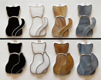 Handmade Stained Glass Cat Suncatcher