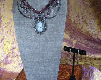Amethyst Lady cameo hematite choker and earring set