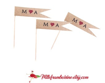 Cake toppers wedding initials and red heart pennant on wooden, customizable kraft stick