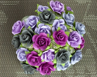 """SALE CLEARANCE 30% off : Prima Mini Sachet """"Plum"""" Flowers 565923 Mini Mulberry Paper Roses in wire embellishments decoration Wedding"""