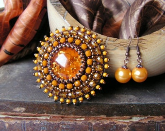 Yellow Brooch Amber Brooch Bead embroidery Brooch Beadwork Brooch Honey Yellow Brooch Bead embroidered jewelry Cabochon Brooch MADE TO ORDER