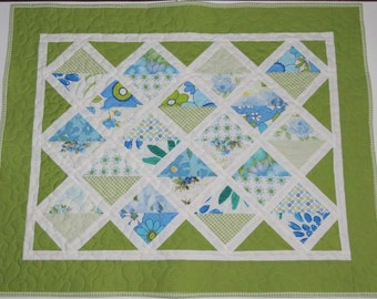 Baby Quilt, Car Seat Cover, Stroller Blanket, Patchwork Quilt, Vintage Sheeting Fabrics