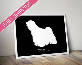 Personalized Puli Silhouette Print with Custom Name - Puli art, dog poster, dog gift, modern dog home decor
