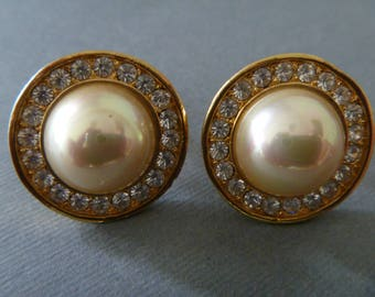 Vintage Button clip on earrings gold tone with rhinestones and cabochon button pearl costume jewelry