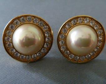 Clip de bouton Vintage sur ton boucles d'oreilles or avec strass et bijoux de perle fantaisie bouton cabochon