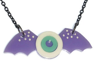 Pastel Goth Necklace Lilac Wing Eyeball Necklace Creepy Cute Kawaii Necklace Winged Laser Cut Acrylic