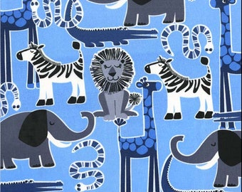 Safari Friends in Blue by Michael Miller Fabrics