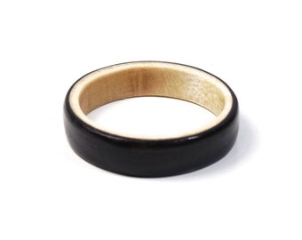 Maple and Ebony Wooden ring // wood ring // wooden Jewelry //  Handcrafted Wooden Ring // Ring for girlfriend