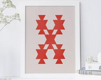 Geometric Print, Abstract Print, Geometric Wall Art, Modern Geometric Poster, Bedroom Wall Art, Nordic Design, Mid Century Poster Print,
